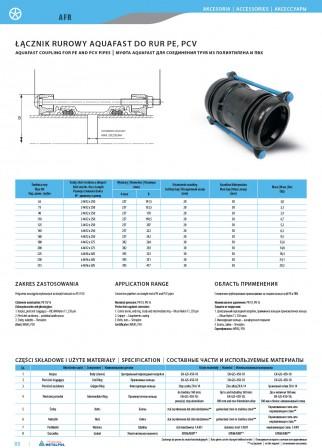 Муфта Aquafast для соединения труб из полиэтилена и пвх