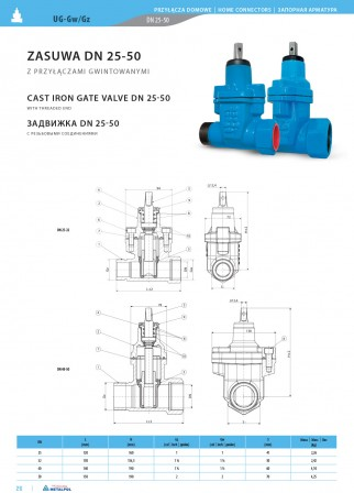 Cast iron gate valve UG-Gw/Gz Dn25-50
